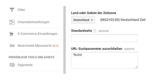 Beispiel: URL-Suchparameter in der Google-Analytics Datenansicht hinterlegen